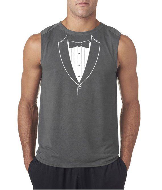 bb5bf769176c1 Men s Funny Shirt Basic White Tuxedo Sleeveless Tee T-Shirt BASICWHITE-42700