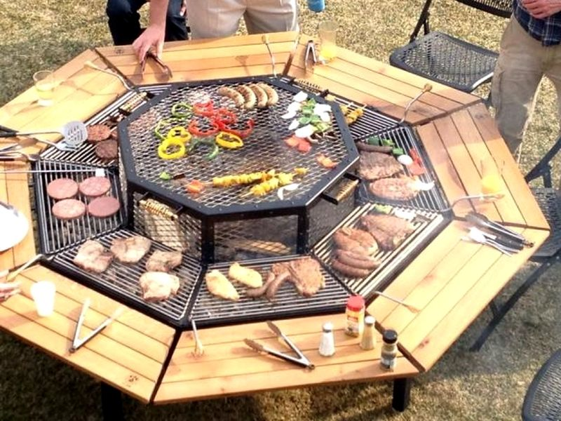 barbecue-plancha-table-bois | Table grill, Amenagement ...