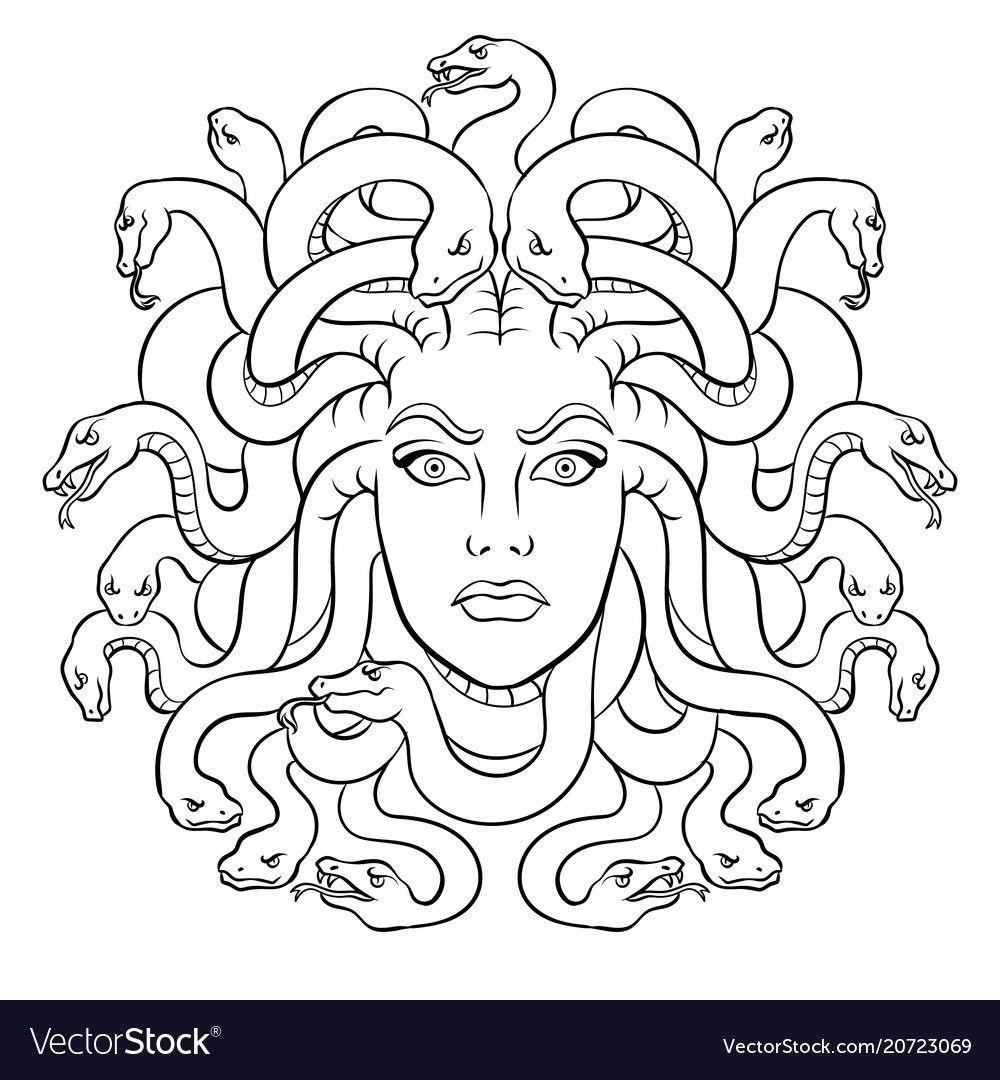 Medusa greek myth creature coloring vector image on
