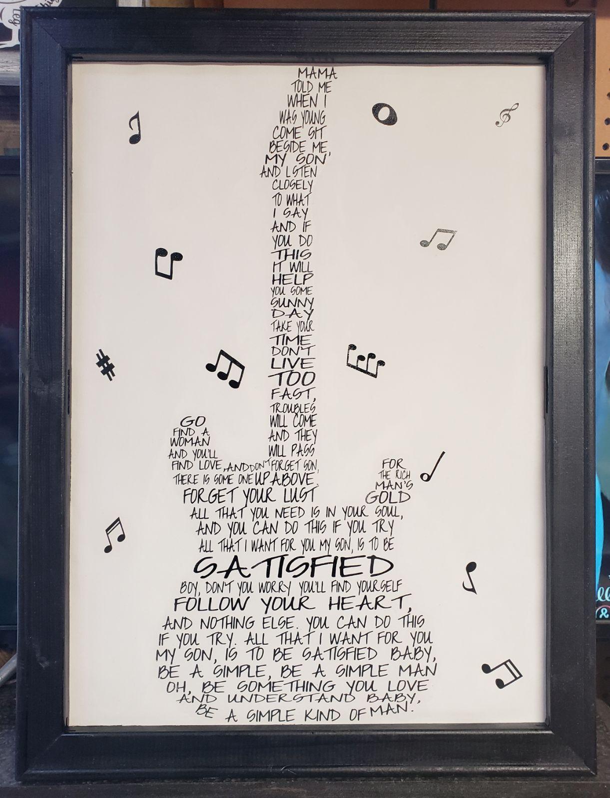 Lynyrd Skynyrd Simple Man Word Art Wall Decor Handmade 18 W 24 L Word Art Word Wall Art Word Art Wall Decor