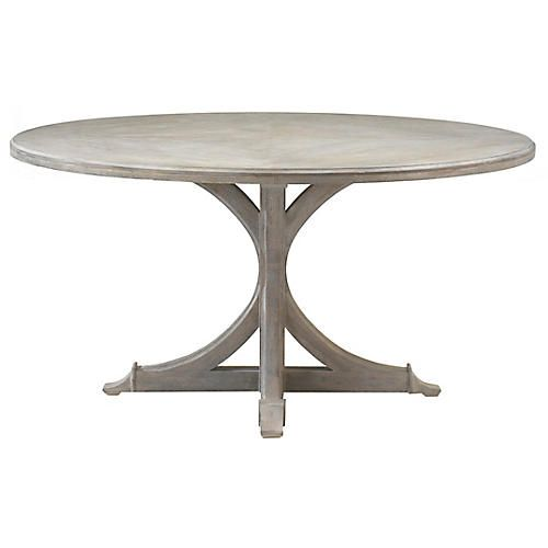 Adams Dining Table Distressed Oak Round Dining Table French