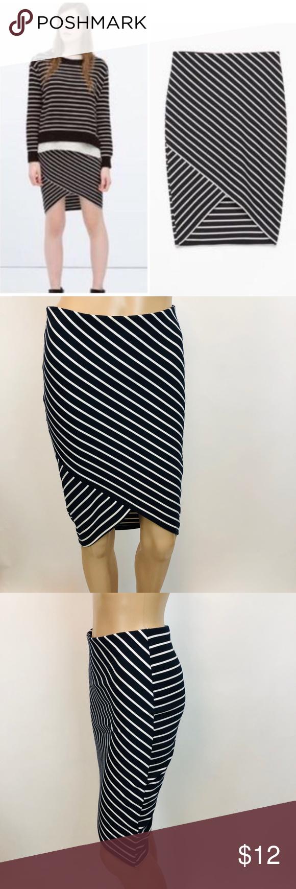 8a8b582007 Zara Trafaluc Striped Faux Wrap Pencil Skirt Womens Zara Trafaluc Size S  Striped Faux Wrap Pencil
