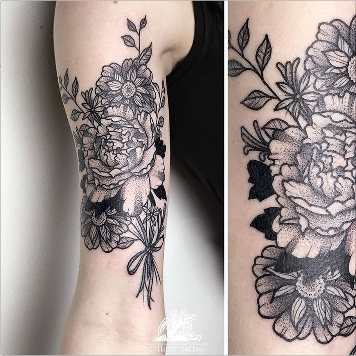 Dotwork Flower Bouquet By Sarah Herzdame Tilldthtattoo On Ig