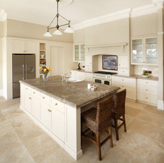 Download Wallpaper White Kitchen Cabinets Stone Floor