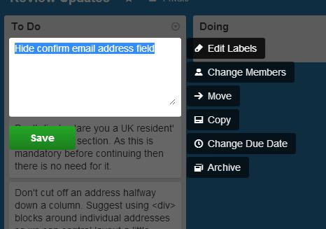Trello context sensitive menu appears on clicking edit