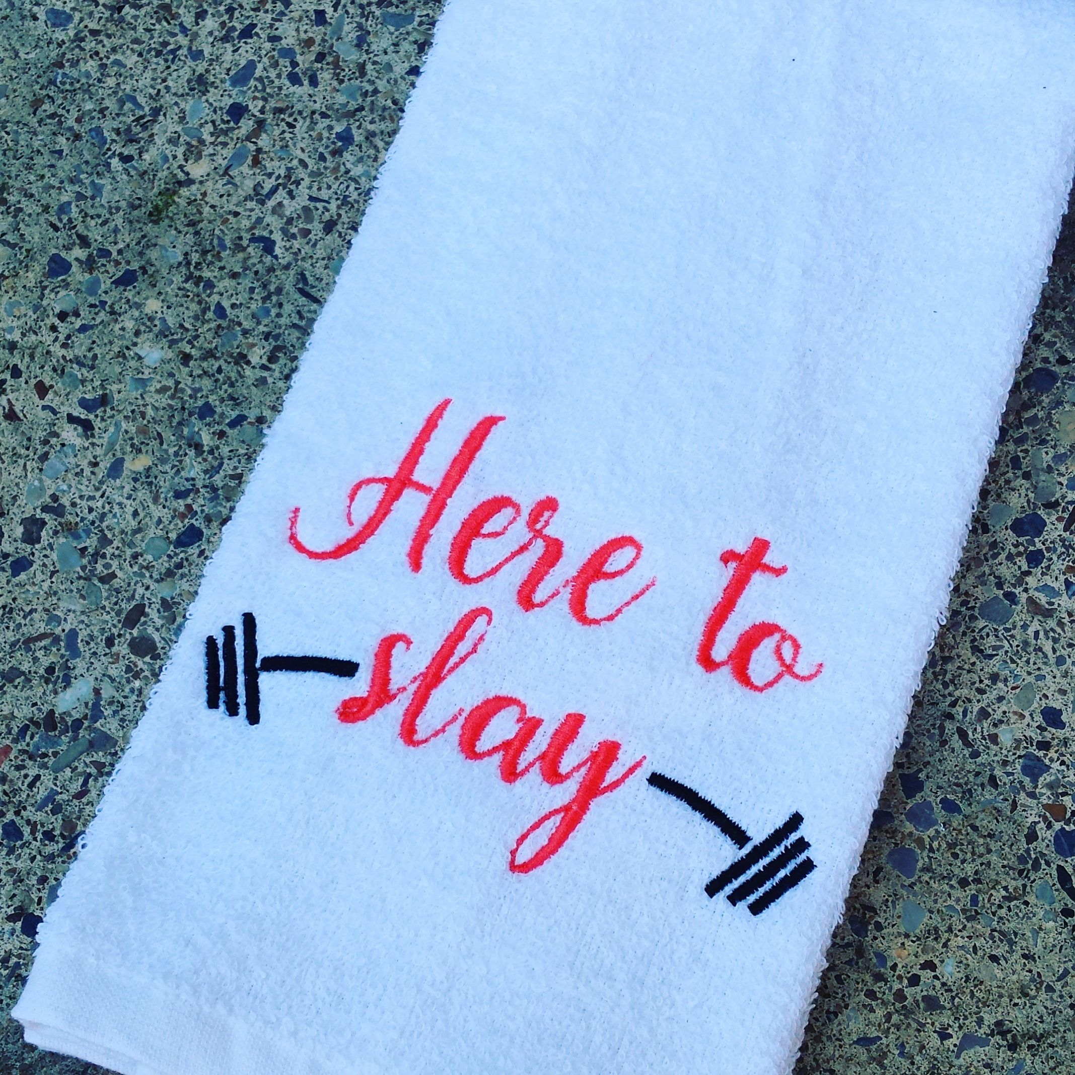 Here To Slay Sweat Towel, Gym Towel, Embroidered Hand