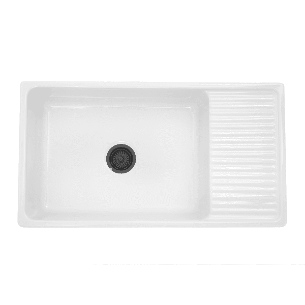 Nantucket Fcfs36 Db 36 Fireclay Farmhouse Sink White With Drainboard With Images Farmhouse Sink Kitchen Fireclay Farmhouse Sink Farmhouse Apron Sink