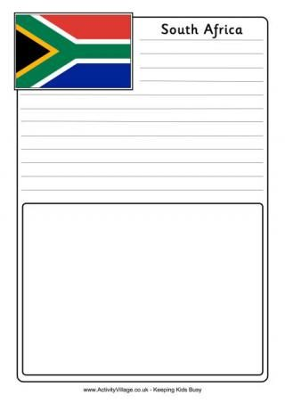 South Africa Notebooking Page South Africa Flag Coloring Pages
