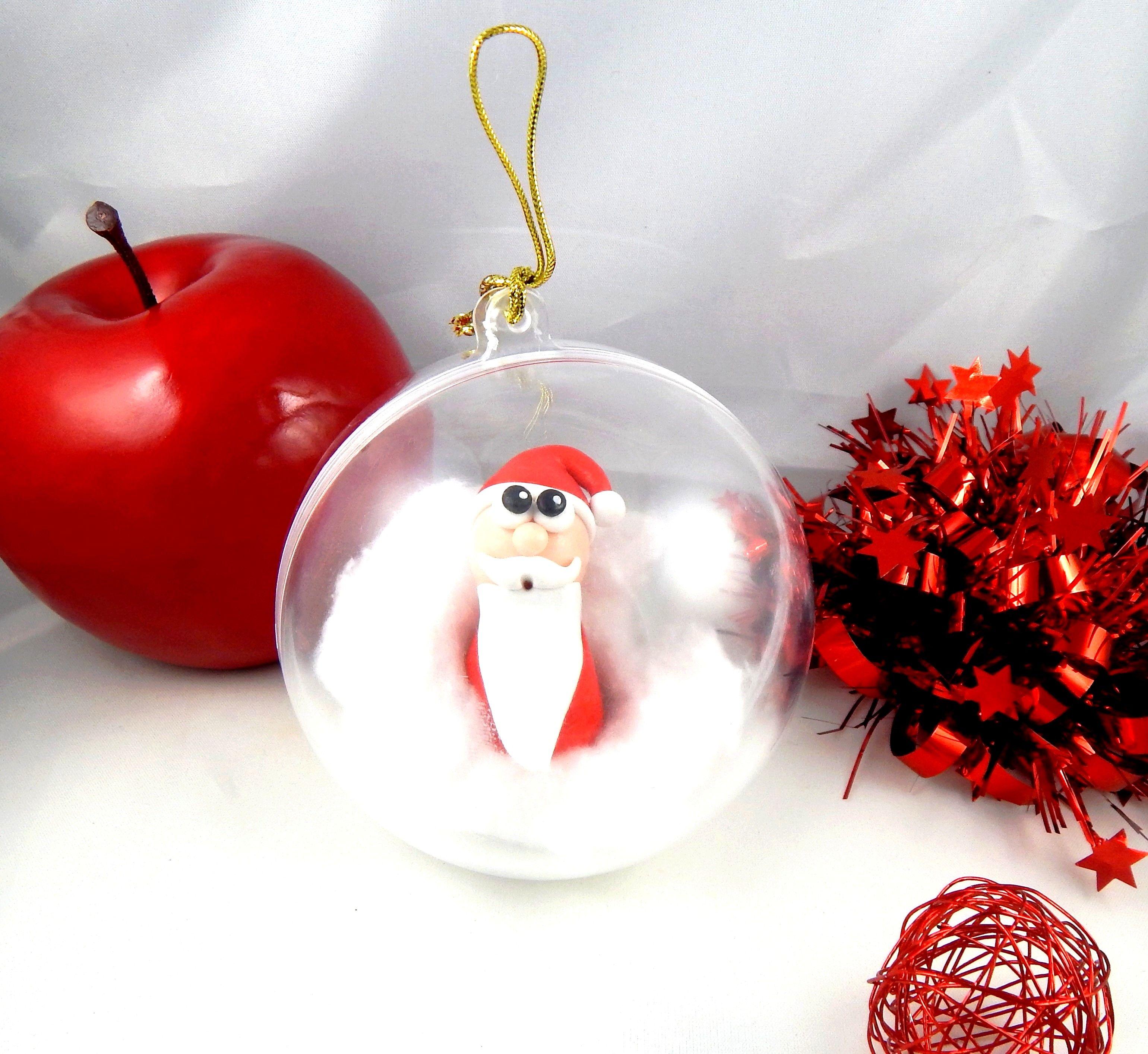 Boule De Noel Coton Boule de Noël transparente en plastique à suspendre dans le sapin