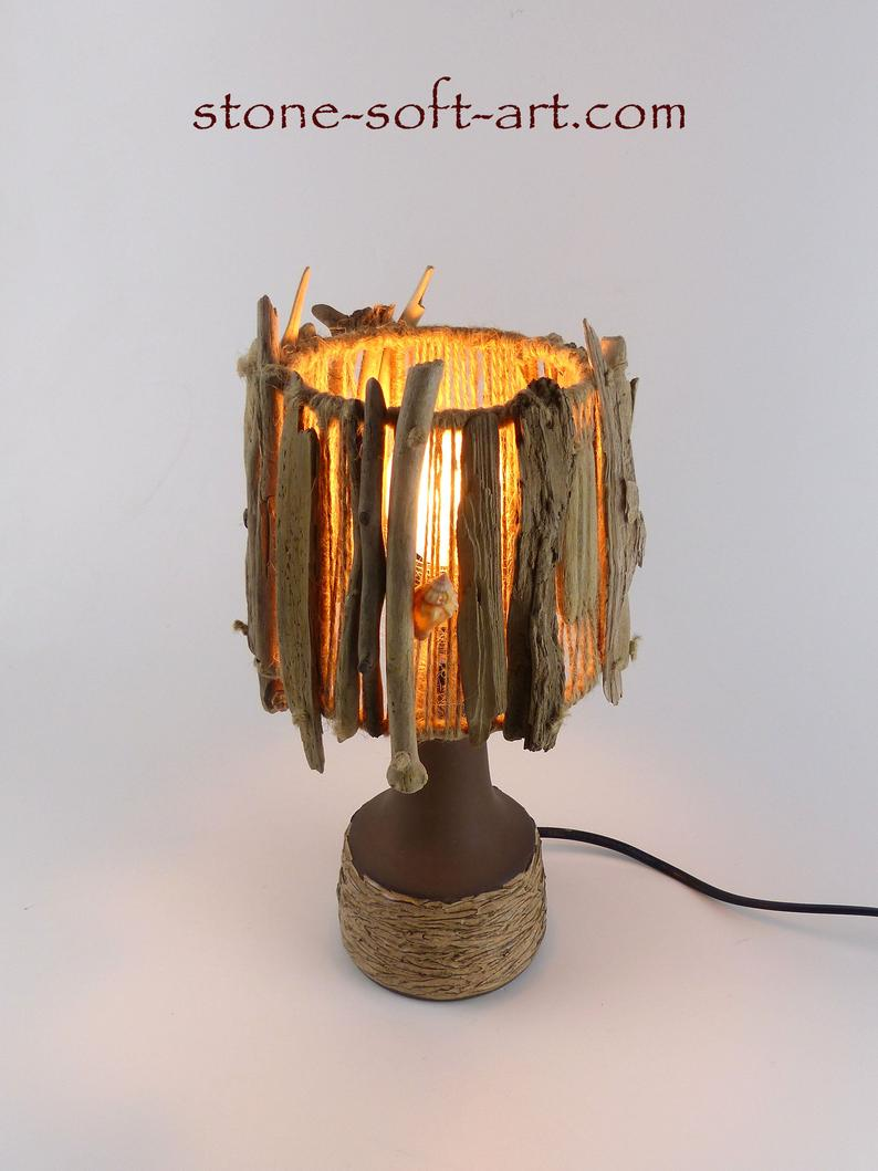 Driftwood Ceramic Table Lamp Tallinn Danish Design Pottery Foot With Handmade Driftwood Shade Upcycled Unique Light Gift