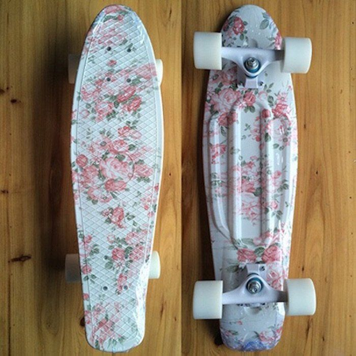 Fancy - Pink Floral Mini Cruiser Skateboard