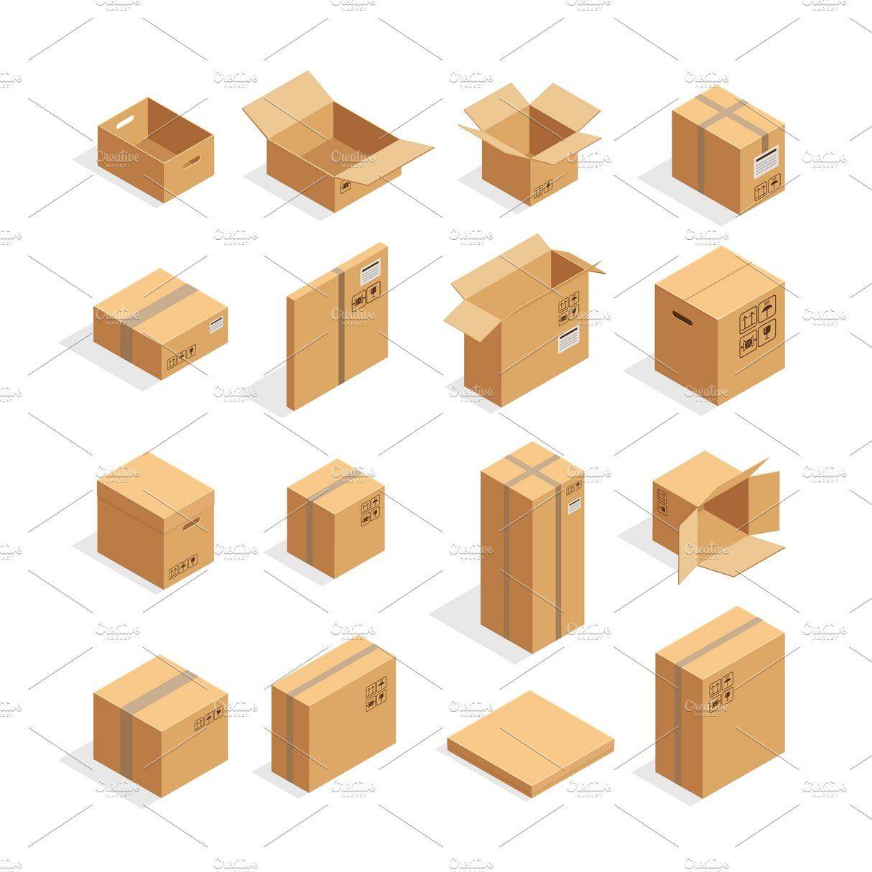 Download Isometric Carton Packaging Box Set Isometric Box Packaging Box Icon