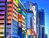 11x14, Toronto Skyscraper Art Print,  Toronto Skyline, City, Cityscape, Cars, Digital Photography, Pastel colors, EBSQ