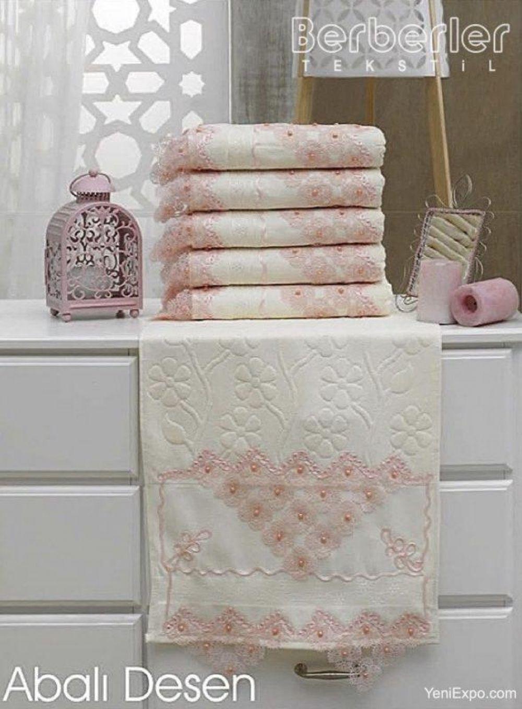 Berberler Berra 100 Cotton Patterned Laced Bath Towels Towel Set
