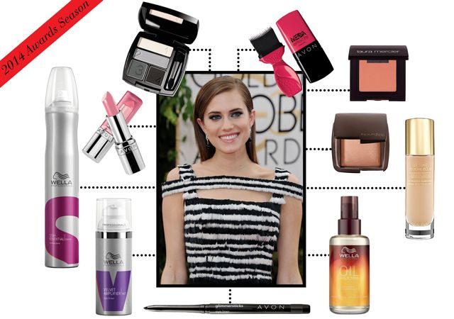 For her Golden Globes look, Allison Williams brought a modern touch to her sultry Hollywood glam makeup look. To get her modern smoky eye that so beautifully complimented her Alexander McQueen
