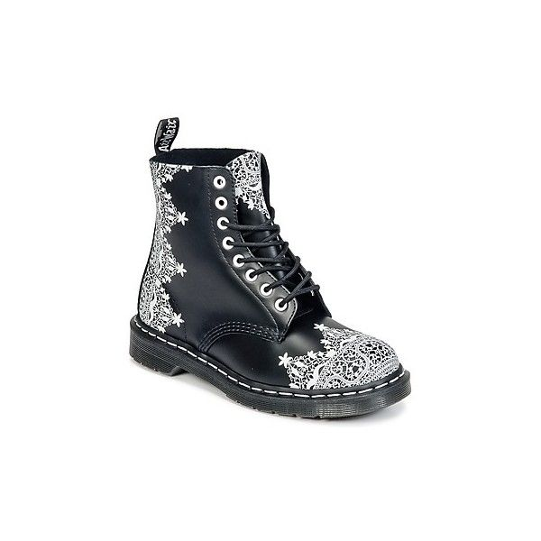 Dr Martens 1460 LACE Mid Boots ($180) ❤ liked on Polyvore featuring shoes, boots, black, black boots, lacy boots, lace boots, black lace shoes and kohl shoes