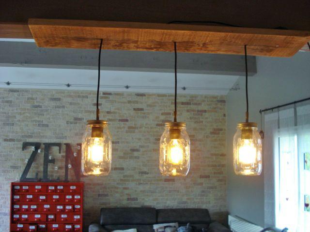 lustre 3 bocaux mason jar deco int rieure lumi re de lampe decoration d co int rieure. Black Bedroom Furniture Sets. Home Design Ideas