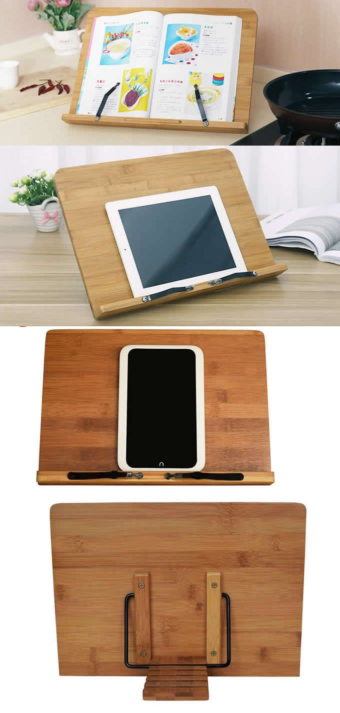 Bamboo Wooden Kitchen Adjustable Folding IPad Tablets Display Stand Holder  Cook Book Display Stand Holder ,