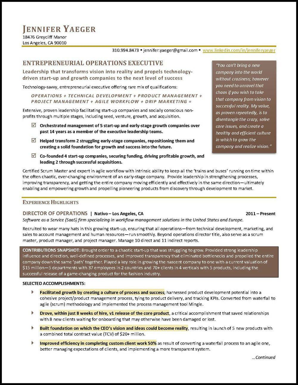 Operations Manager Resume Example Distinctive Career