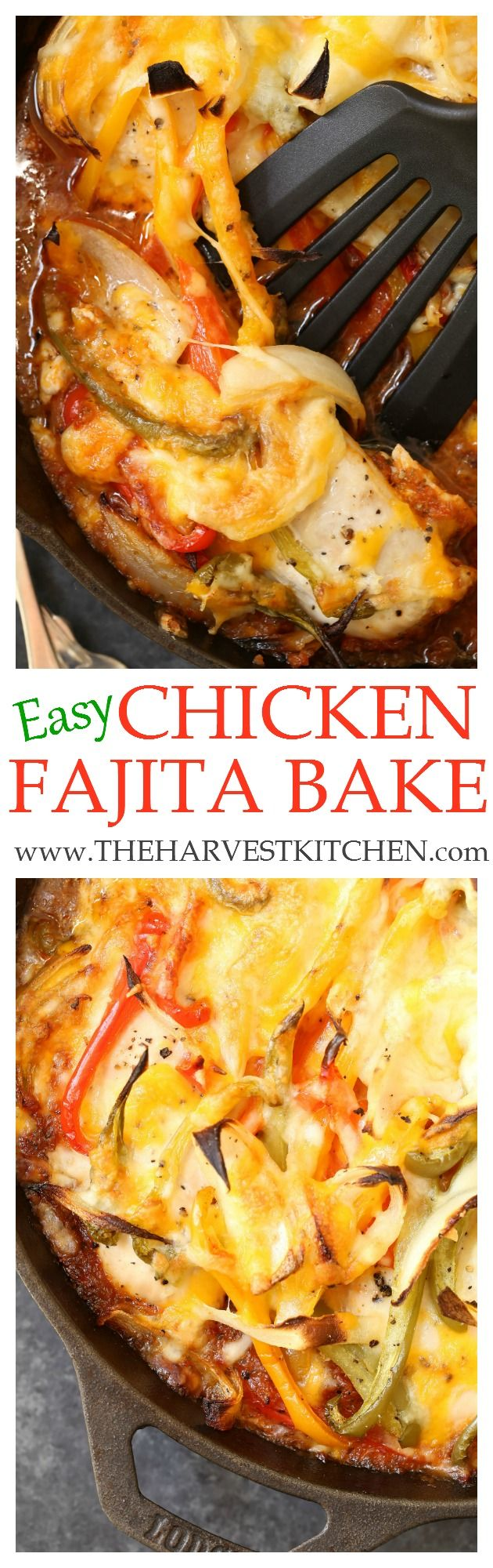 The chicken in this Easy Chicken Fajita Bake is moist, tender and simmered in a deliciously seasoned sauce.  This is one of those easy baked chicken recipes that you can make any night of the week.
