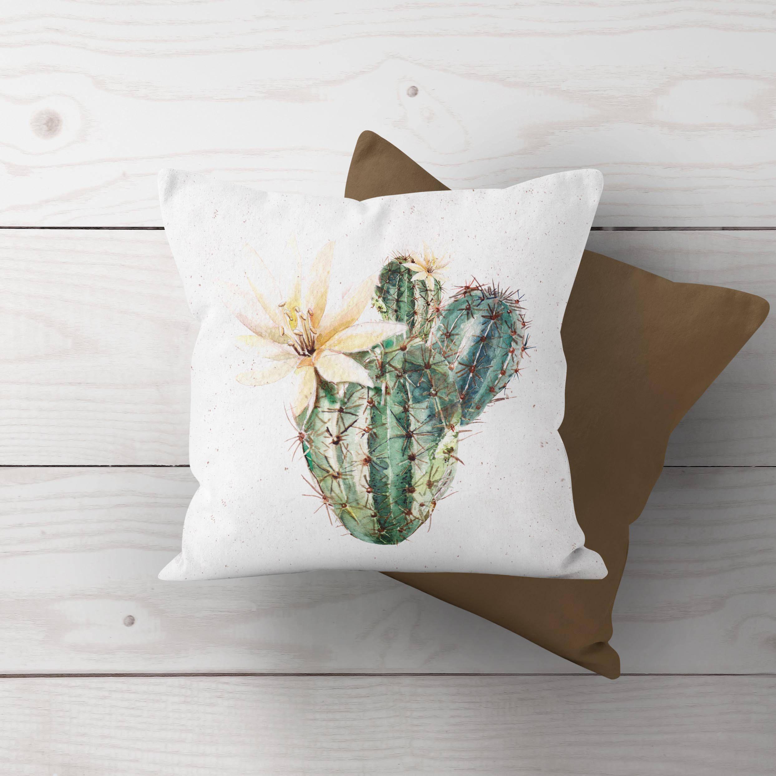 Boho Farmhouse Prickly Pear Cactus Throw Pillow Cover Cactus Throw Pillows Throw Pillows Cactus Pillow
