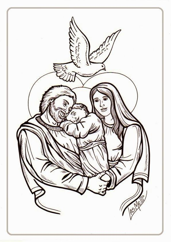Colorea a San José con María y Jesús | Sagrada Familia | Pinterest ...