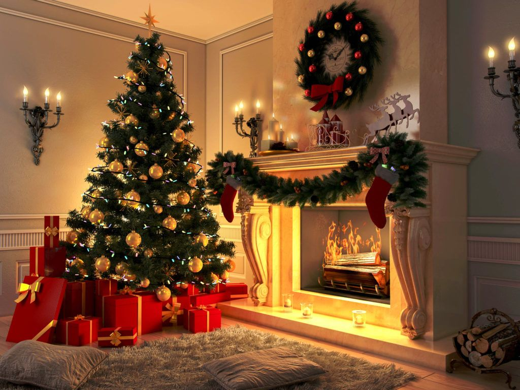 Novogodnie Oboi 2018 Novyj God Christmas Tree And Fireplace Holiday Decor Irish Christmas Traditions Holiday living room background