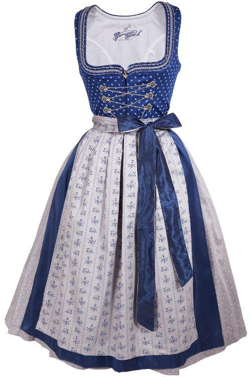 08c986badb4681 Midi Dirndl Rosalie aus blauer Baumwolle mit grauen Details ...