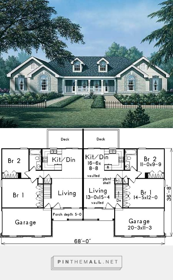 Duplex With Side Garage And Roomy Entry Porch 57075ha 1st Floor Master Suite Pdf Architectural Desi Duplex Floor Plans Duplex House Design Duplex Design