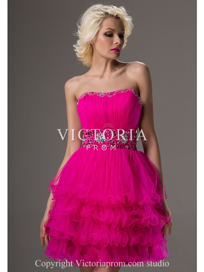 Juniors Fuchsia Tulle Ball Gown Short Strapless Corset Prom Dress-US ...