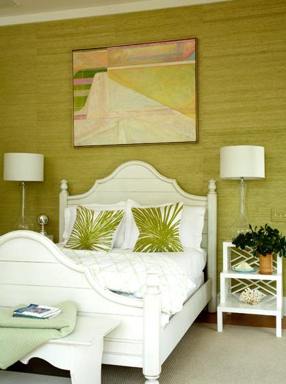 Suzie amanda nisbet green cottage bedroom design with green grasscloth wallpaper white