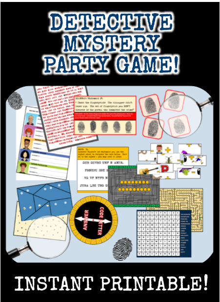 Printable Detective Mystery Party Game - The Case of the Stolen