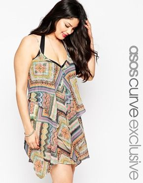 e42f084613c75 ASOS CURVE Layered Drape Side Beach Dress in Geo-Tribal Print ...