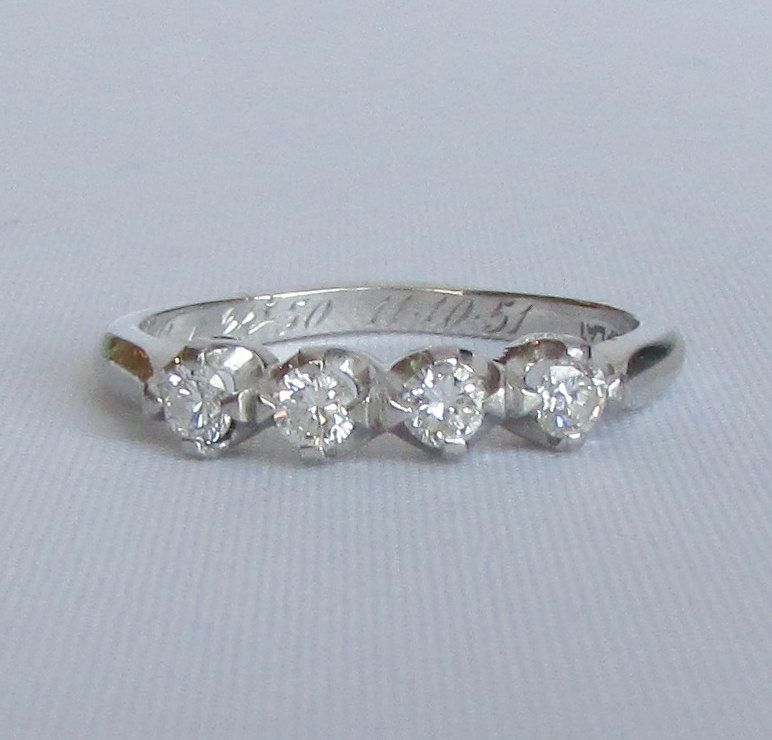 stone four white bands custom nl diamond wedding in round band rings yellow jewelry with gold yg