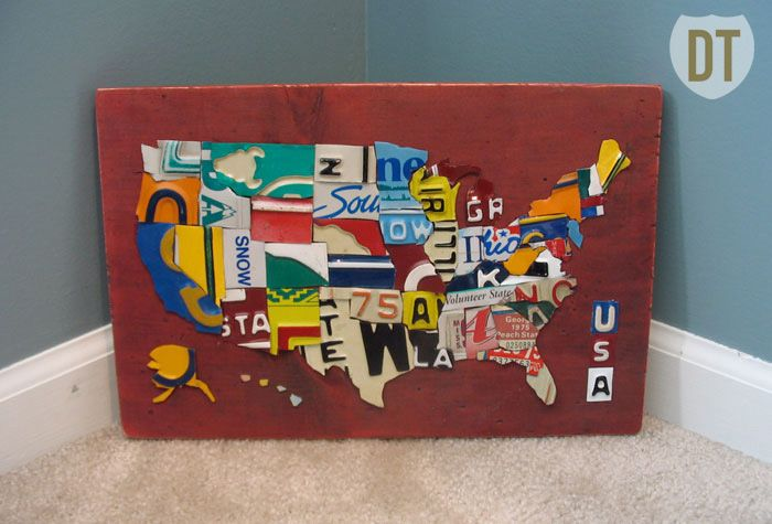 Miniature USA License Plate Map License Plate Art And Maps - Us map of license plates