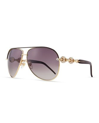 57185980cb3 Crystal-Temple Aviator Sunglasses by Gucci at Neiman Marcus ...