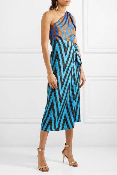 67cee60dc5 Diane von Furstenberg - One-shoulder Printed Silk-twill Midi Dress - Blue