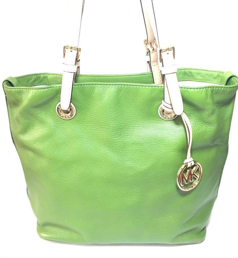 418644824168 Michael Kors Olive Green Leather Shoulder Bag | Gently Used ...