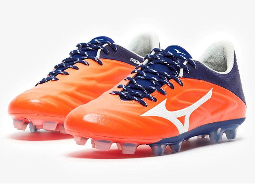 12a1e739c1fb #mizunofootball #footballboots Mizuno Rebula 2 V1 Made in Japan FG - Orange  Clown Fish / White / Mazzarine Blue