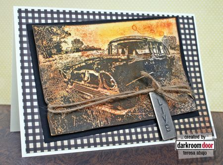 Card by Teresa Abajo using Darkroom Door Old Car Photo Stamp.