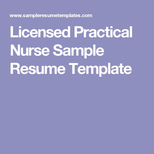 Sample Lpn Resume Impressive Licensed Practical Nurse Sample Resume Template  Resumes Inspiration Design