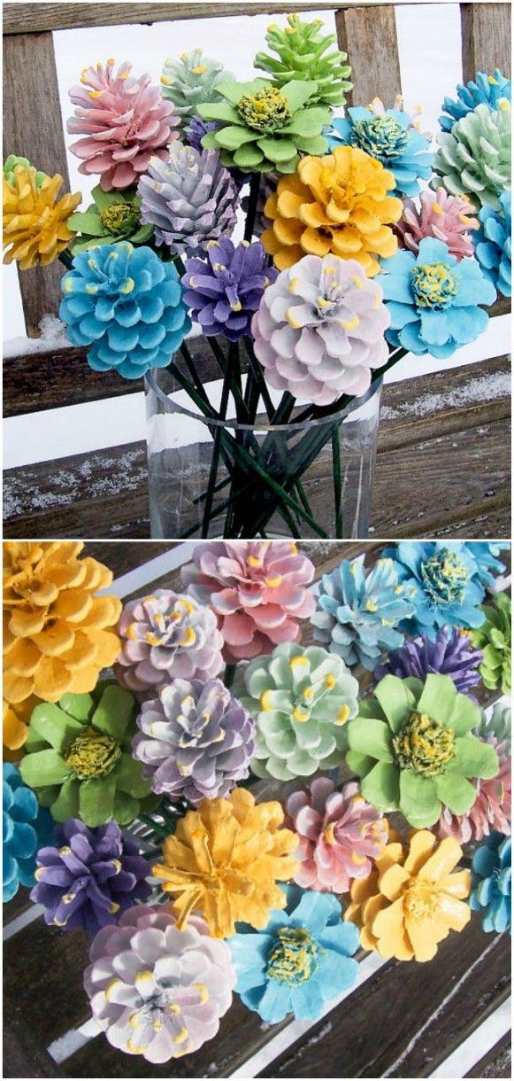 How To Turn Pine Cones Into Lovely Zinnia Flowers | The WHOot