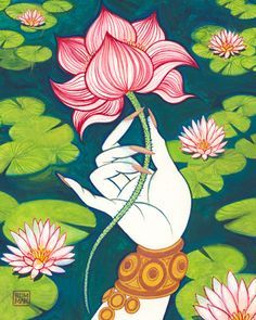 Hindu Painting Of Hands Holding Lotus Flower Google Search