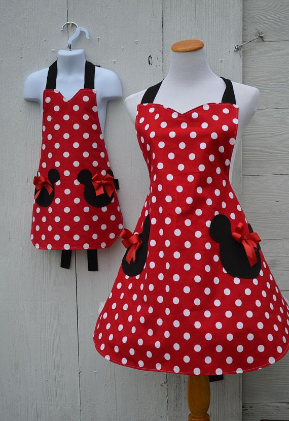 Minnie Mouse Apron Set, Mother Daughter Apron Set, Matching Aprons ...