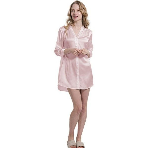 Ladies Silk Nightshirt Pajamas Top Plus Size - OOSilk ( 157) ❤ liked on  Polyvore featuring intimates 8a5a0ef34