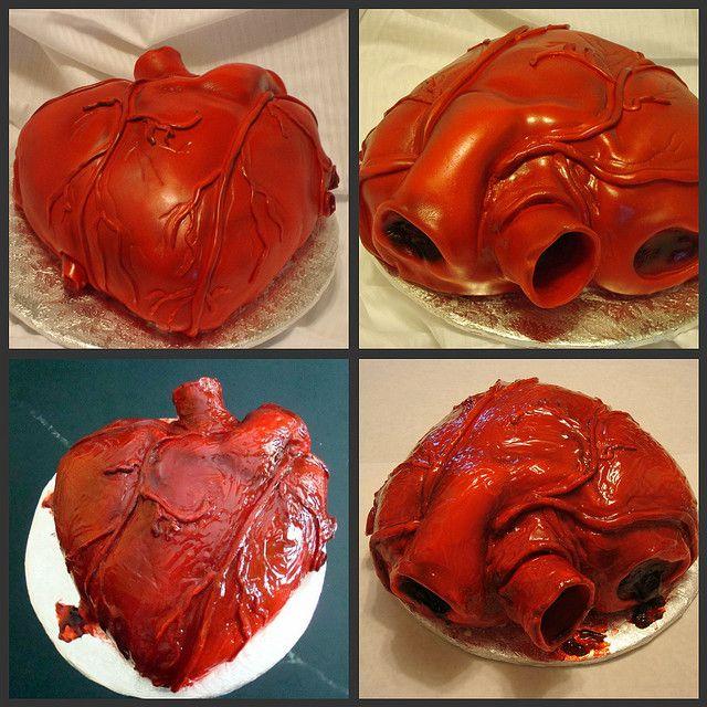 Anatomical Heart Cake Gross Cakes Halloween Cakes Heart Cake