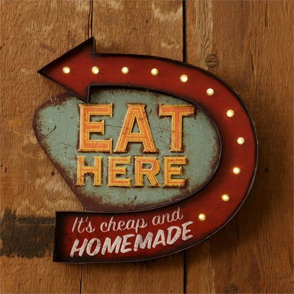 "Lighted Kitchen Signs: Vintage Style ""Eat Here"""