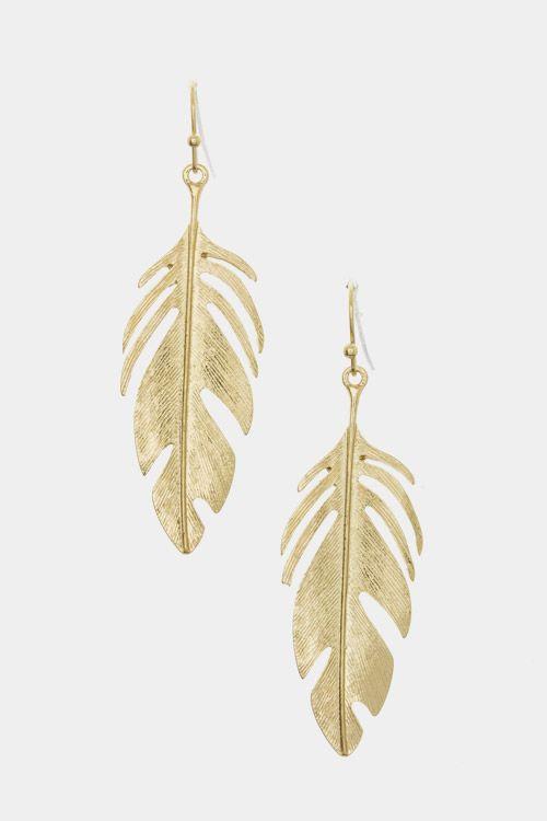 Leaf Earrings (Gold Tone) $13.00