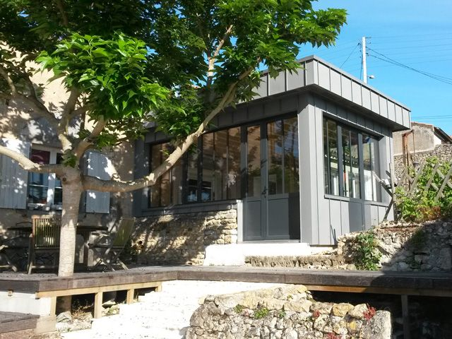 Extension bois zinc maison house pinterest for Extension maison zinc