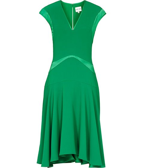Womens Emerald Fit And Flare Dress - Reiss Hira